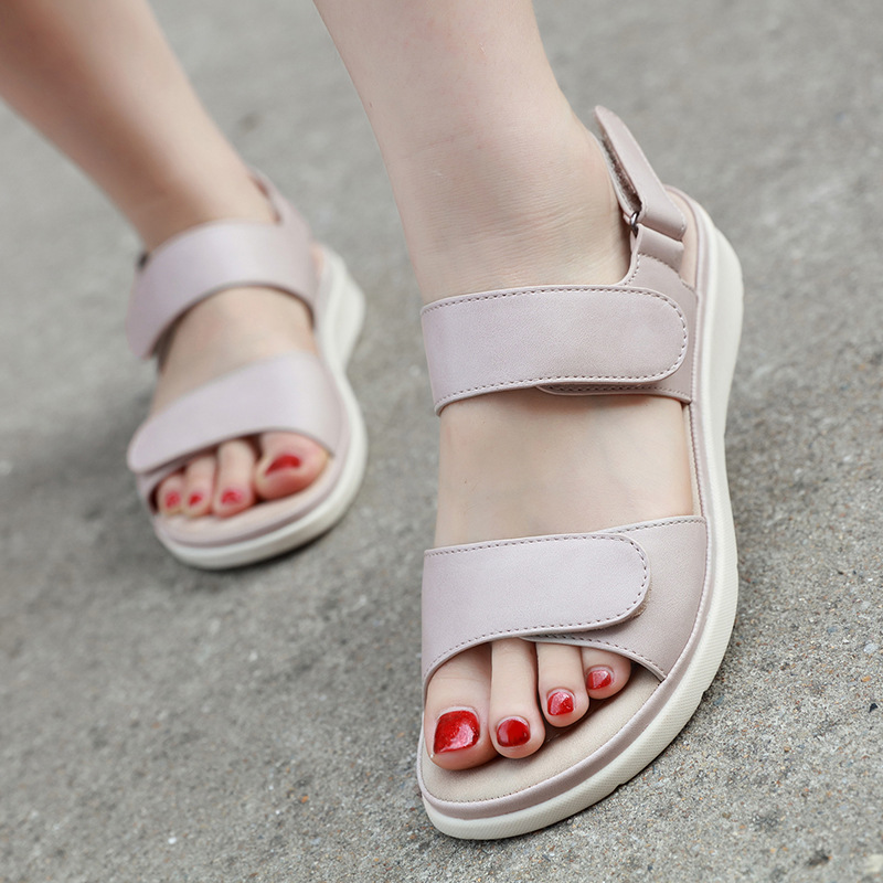 Ladies Sandals Holiday Beach Summer Size Heel Shoes Slingback Flat Womens Casual