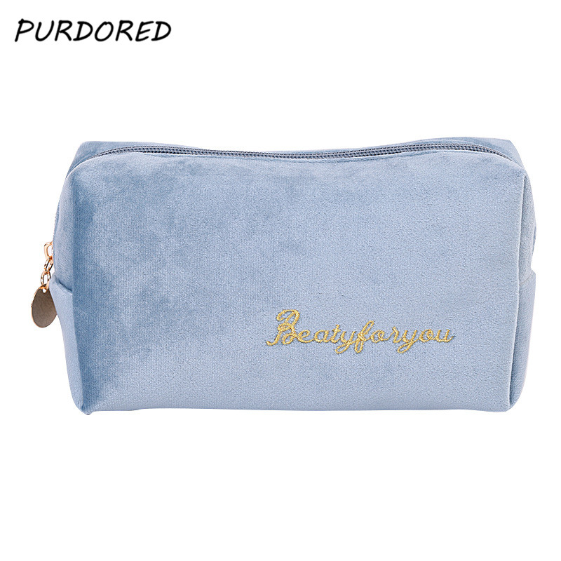 PURDORED 1 Pc  Multifunction Travel Cosmetic Bag Women Makeup Bags Toiletries Organizer Solid Color  Female Storage Make Up Case