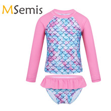 Kids Girls Tankini Swimsuits Fish Scales Printed Rashguard Swimwear Children's Swimming Suit Tops with Bottoms Bathing Suit Set girls fish scales print dress with pants