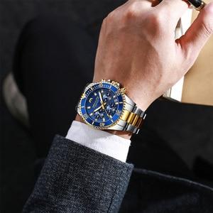 Image 5 - MEGALITH Reloj de lujo para hombre, cronógrafo de cuarzo analógico, resistente al agua, con fecha de 24 horas, de acero inoxidable