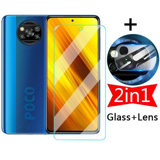 2in1 Screen Protective Glass for Xiaomi Poco X3 NFC Pocophone F1 Tempered Protector Camera Lens Film on Pocox3 X 3 Pro F M F3 M3 1