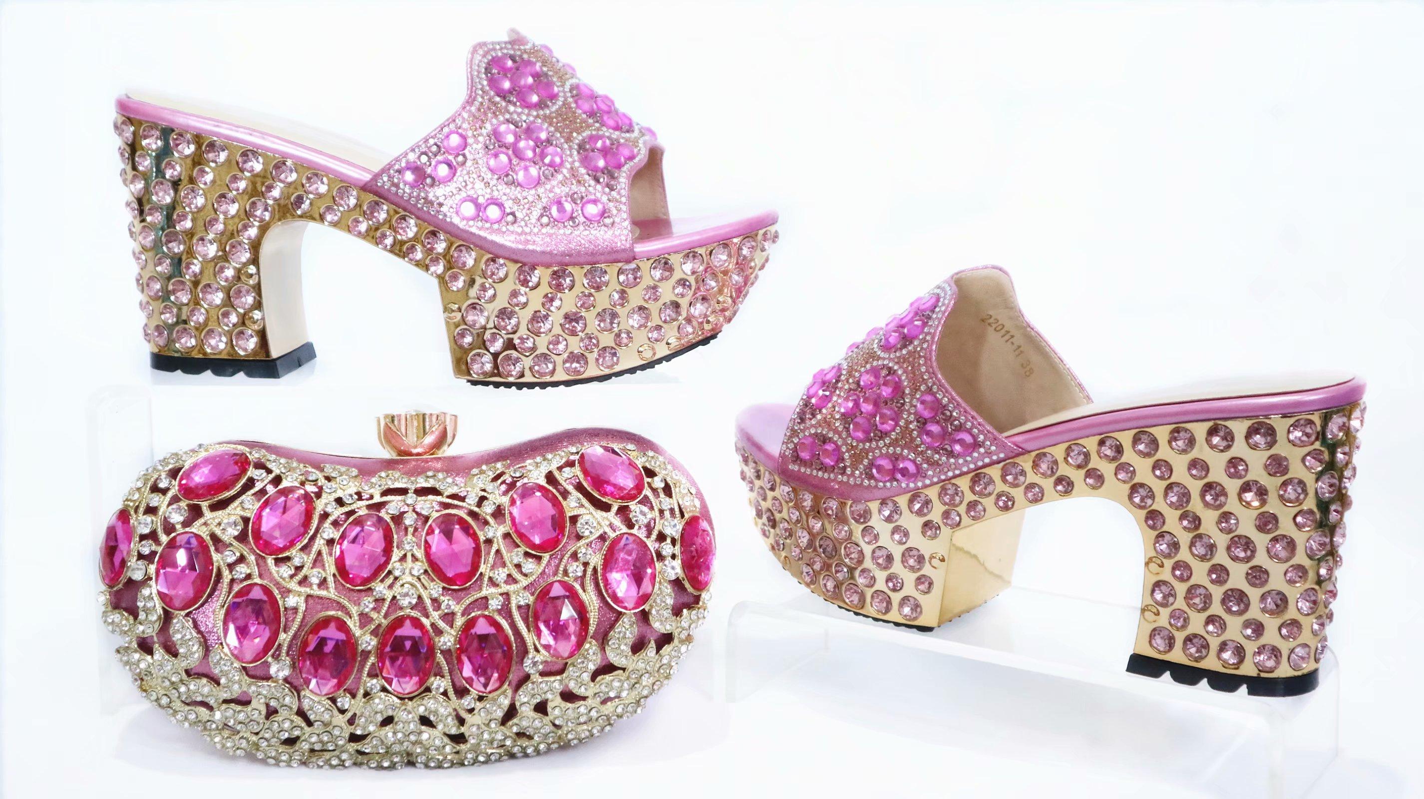 Gratis Verzending Mooie Roze Schoenen Bijpassende Tas Voor Afrikaanse Aso Ebi Shining Big Stenen Slippers Schoenen En Koppelingen Tas SB8475 4 - 2