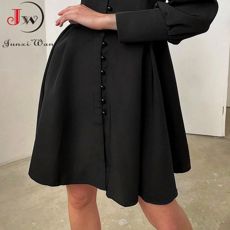 2021 New Puff-Sleeve Elegant Party Dress Women Solid Turtleneck Collar Ladies Streetwear Black Solid Button Mini Dresses Vestido 4