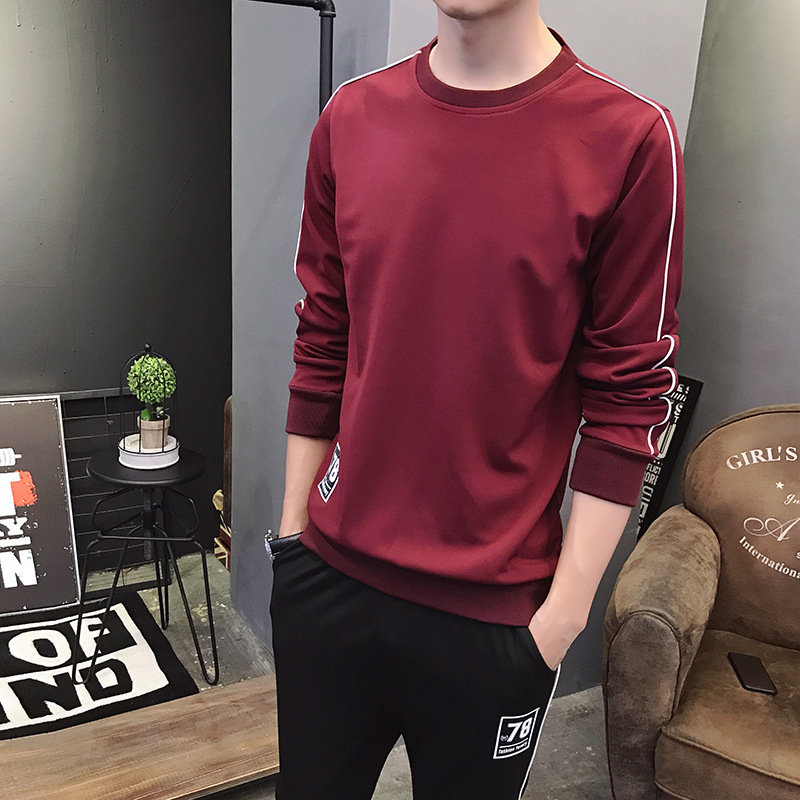 Spring New Style MEN'S Sweater Trousers Set Teenager Casual Running Sports Set Students Tide