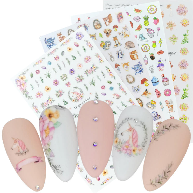 1 Sheet 2020 New 3D Nail Sticker Unicorn Flower Leaf Mushroom Animal Image Nail Art Decorations Slider For Nail Manicure
