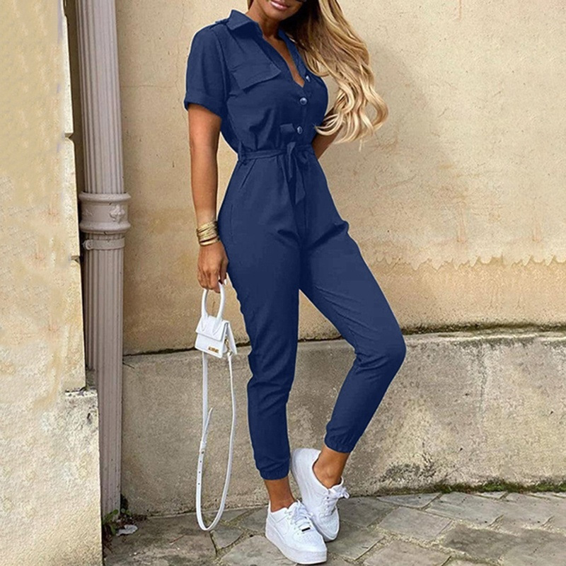Elegant Solid Cotton Jumpsuit Women 2020 Summer Deep V Neck Button Shirt Overalls Short Sleeve Office Lady One Piece Romper Belt