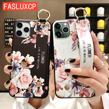 For iPhone 11 Case Fashion Flower Phone Holder Case for iPhone 8 Plus 6 6s 7 X XR XS 11 pro max Soft TPU Wrist Strap Cover Etui glitter powder holder phone case for iphone 11 x xr xs max 6 6s 7 8 plus transparent soft tpu wrist strap shockproof back cover