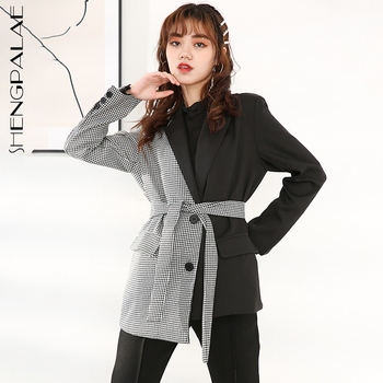 SHENGPALAE תוספות סגנון סתיו עיצוב פיצול משותף סריג סדיר טרייל Chalaza גבוהה מותן ארוך רופף הקרן מעיל אישה FV351