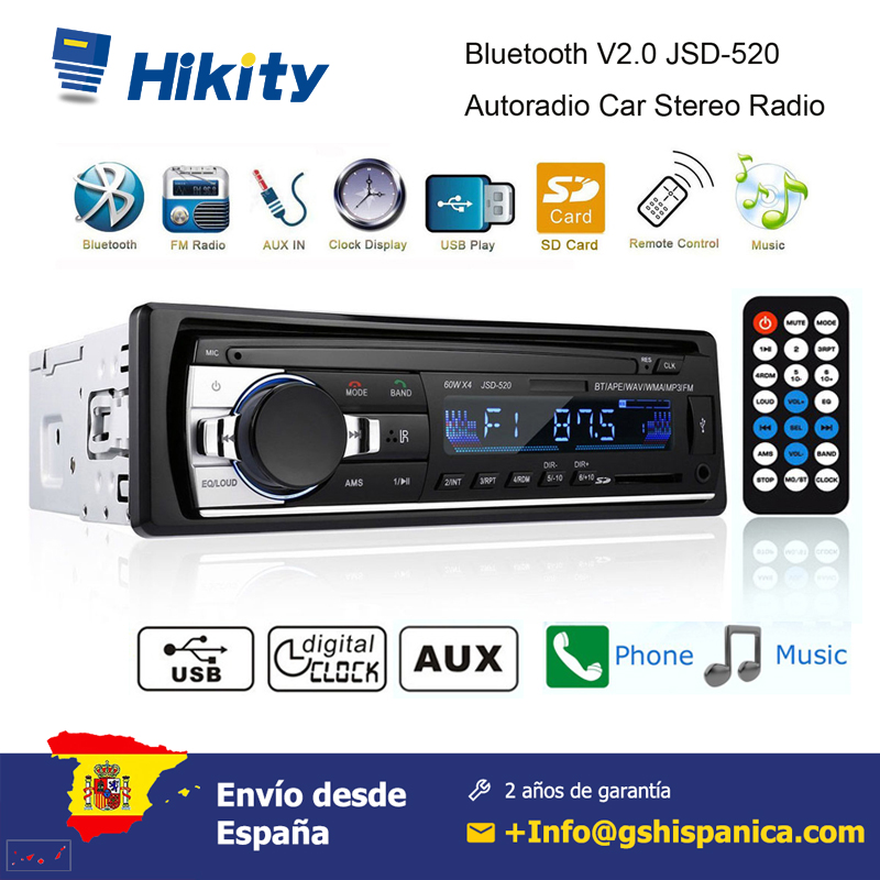 Podofo 1 din rádio do carro mp3 player estéreo de controle remoto digital bluetooth áudio do carro música estéreo 12 v usb/sd/AUX-IN