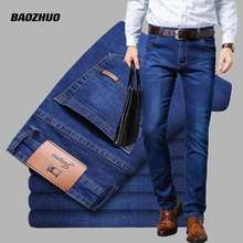2021NEW Men's Fashion Business Jeans Classic Style Casual Stretch Slim Jean Pants Male Brand Denim Trousers Black Blue