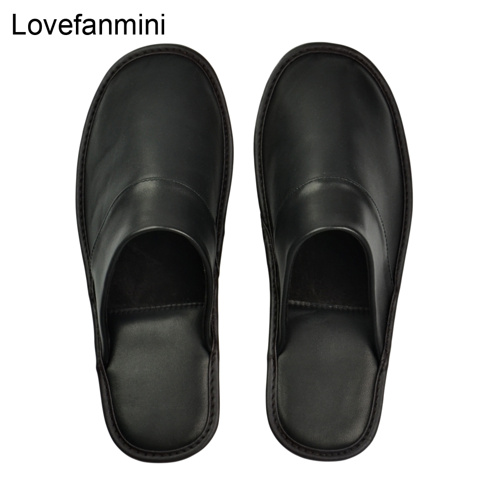 Image 3 - Genuine Sheepskin Leather slippers couple indoor non slip men women home fashion casual single shoes PVCsoft soles spring summerSlippers   -