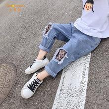 Джинсы для детей леопардовые джинсы с дырками маленьких мальчиков