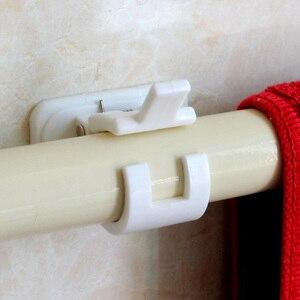Image 3 - 1set Selbstklebende Vorhang Stangen halterung Weiß Aufhänger Querlatte Clips Wand Haken organizer schienen rack home storage