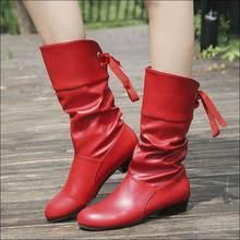 Женские кожаные ботинки до середины икры; женские ковбойские ботинки; зимняя обувь; женские ботинки; цвет черный, красный, белый; большие размеры 35-43; Botas Mujer
