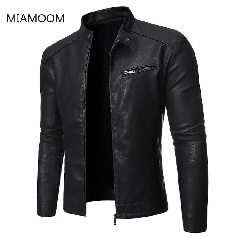 MIAMOOM  New Autumn Winter 2019 Men's Biker Outerwear Leather Jacket Wind Proof Coats