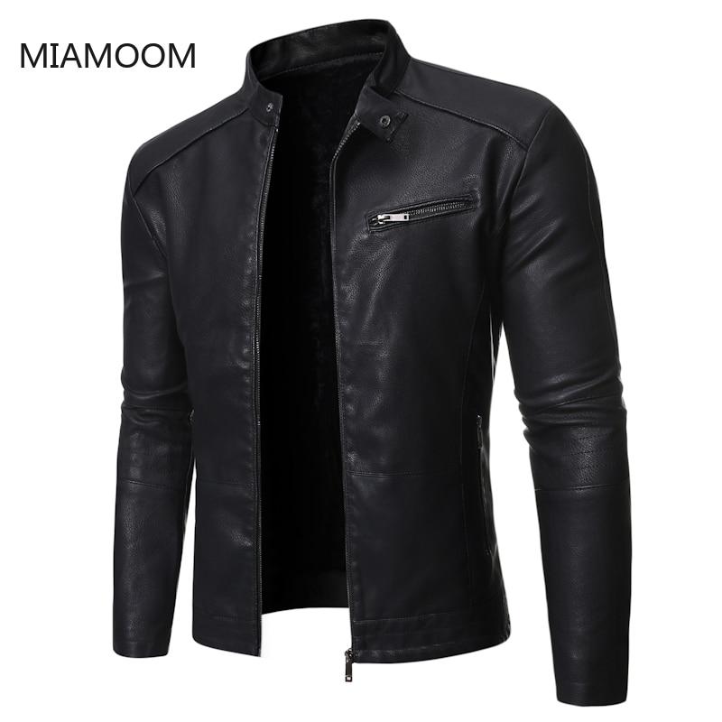 MIAMOOM  New Autumn Winter 2019 Men's Biker Outerwear Leather Jacket Wind Proof Coats