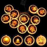 Tira de luces Led Eid Mubarak para el hogar, Noche de luna de estrellas, decoración para el hogar, Festival musulmán islámico, Ramadán, 1,5 M, 10Led