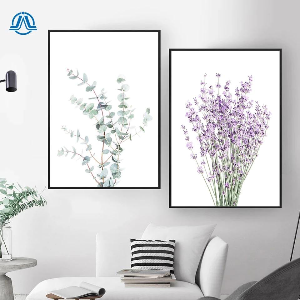 Lavender Eucalyptus Posters Botanical Canvas Painting Farmhouse Wall Decor Art Pictures Bedroom Decoration Scandinavian Decor Painting Calligraphy Aliexpress