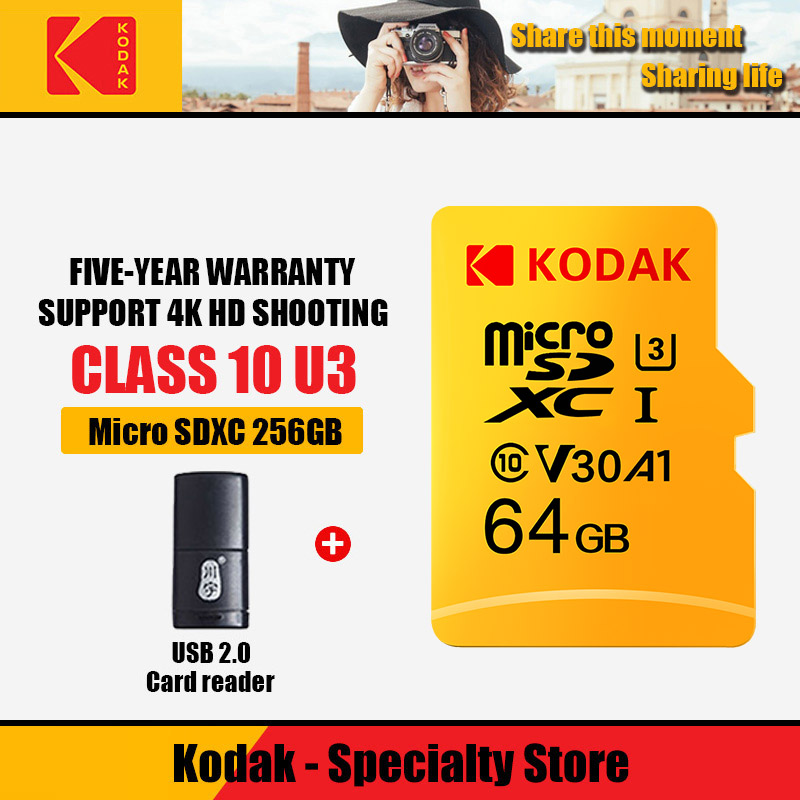 100% Original Kodak  U3 Memory Card 32GB 64GB 128GB 256GB 512GB Micro SD Card TF Flash Card Micro Carte  Card Add Card Reader286