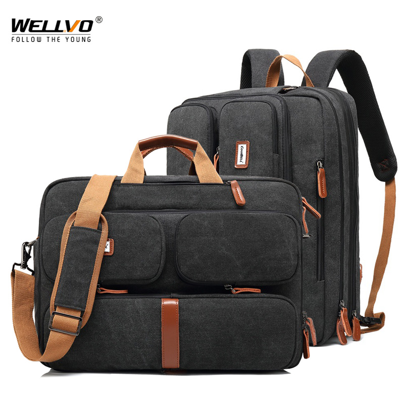 17.3 Vintage Briefcases Men Office Laptop Work Bag Man Convertible Business Multifunction Computer Handbag Travel Tote Bag XA229