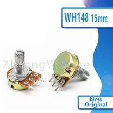 5pcs WH148 3Pin 15 milímetros Potenciômetro B1K B2K B5K B10K B20K B50K B100K B250K B500K B1M 20 10 5 2 1K K K K K K 100K 250K 500K 1 50 M