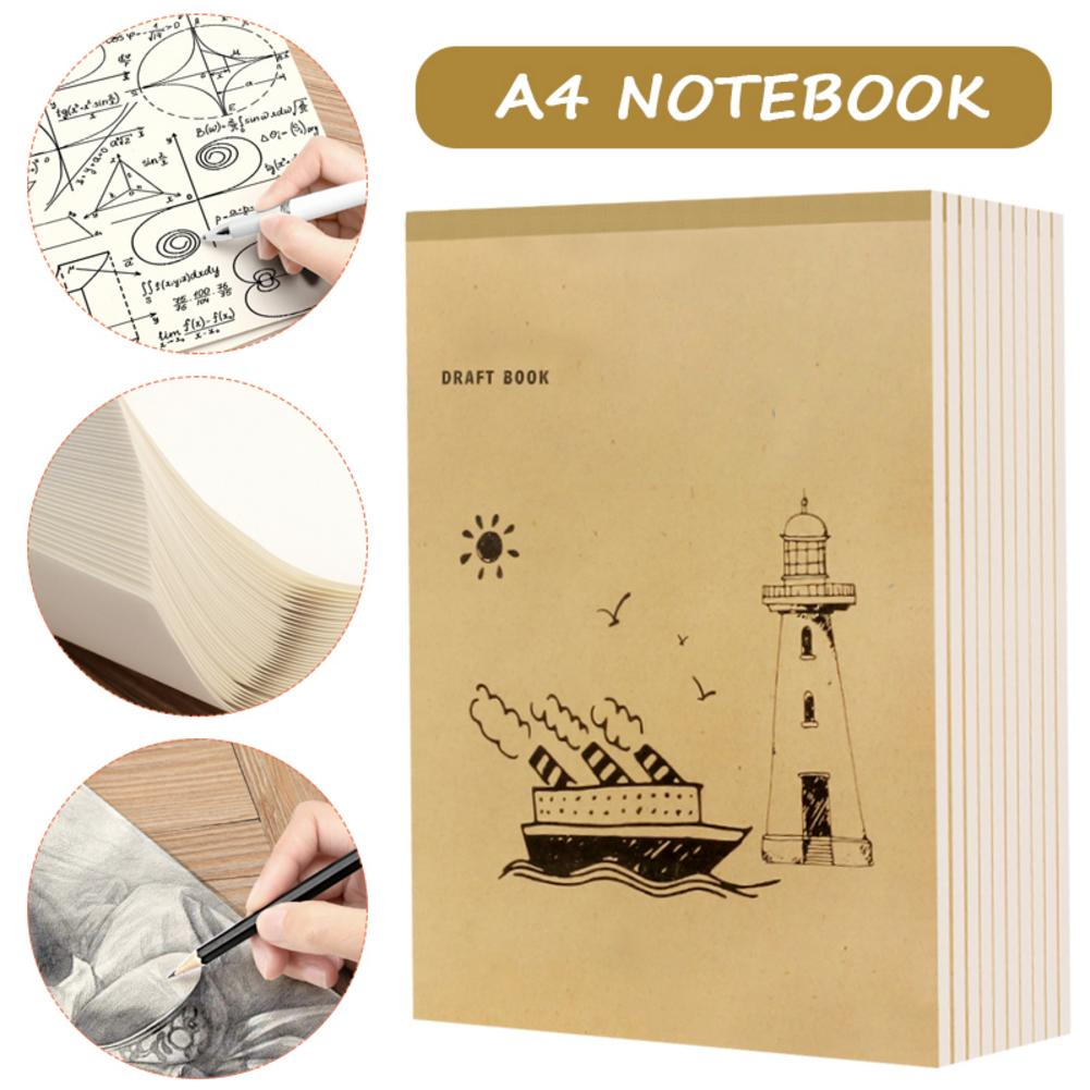 New A4 Notebook Blank Inner Page Graffiti Draft Sketchbook Thickened Beige Thickened Paper For Sketching Note Painting 40 Pages