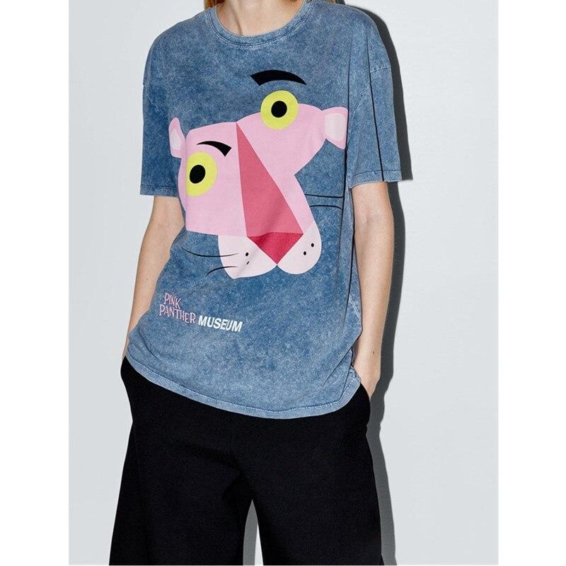 Mulheres-Animais-camisa-Azul-T-Ver-o-Pantera-Cor-de-Rosa-Dos-Desenhos-Animados-Impress-o