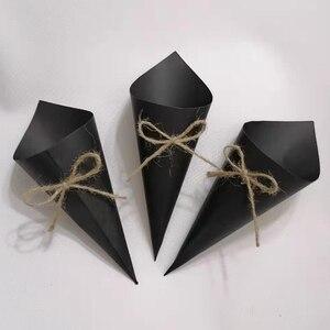 Image 5 - 30 Uds. De confeti personalizado para boda, pétalos de papel kraft, conos de confeti naturales para decoración de fiesta de cumpleaños o boda