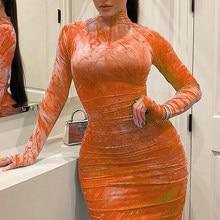 Bodycon Dresses for Women Long Sleeve frilly dress Zipper printing Fashion Party club Spring Printed Midi Dress 5xl