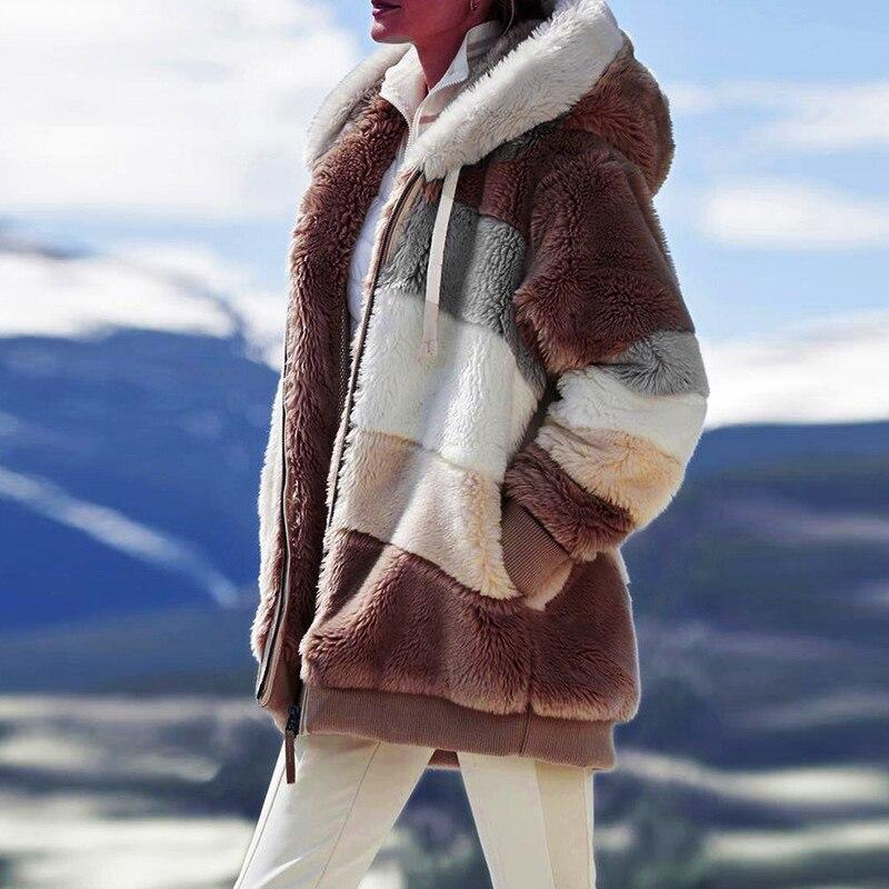 H00dfbe043bf043d9a6e868350d9a5280b Female Casual Loose Long Sleeve OuterwearWinter New Warm Plush Furry Women Jackets Fashion Patchwork Zipper Pocket Hooded Coats