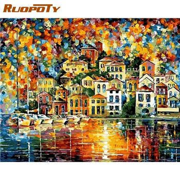 RUOPOTY 60x75cm Diy Oil Painting By Numbers Colorful House Landscape Paints Kits Drawing Canvas Home Living Room Decor Artwork