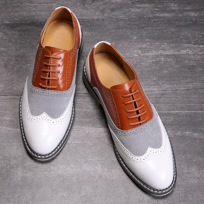 2020 Oxford Shoes Men Brogues Shoes Lace-Up Bullock Business Wedding Dress Shoes Male Formal Shoes