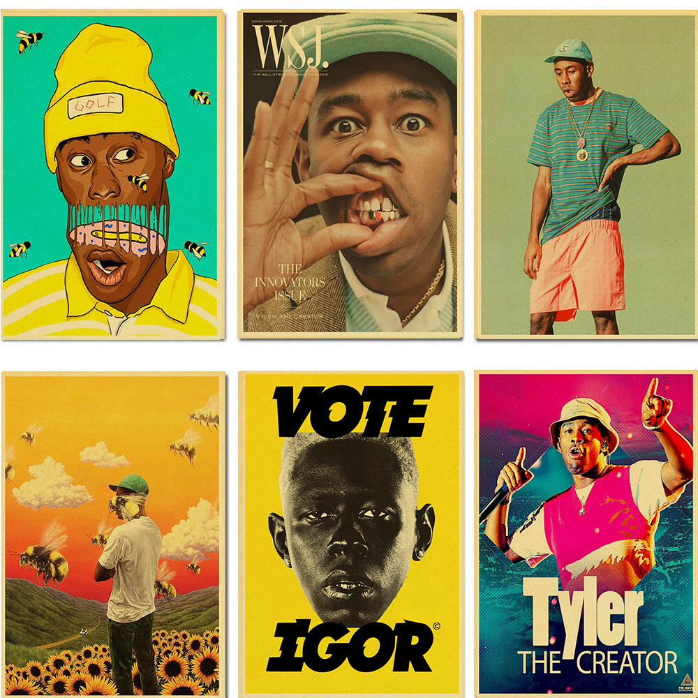 famous singer tyler the creator poster retro vintage poster kraft paper painting wall art for home bar decors