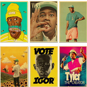 Famous Singer Tyler The Creator Poster Retro Vintage Poster Kraft Paper Painting Wall Art for home/bar Decors vintage classic movie black mirror poster good quality painting retro poster kraft paper for home bar wall decor stickers