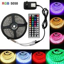JUNEJOUR LED Strip Light  5050  2835 Flexible Strip Light EU Plug 5Meter With Remote Control For Home Decoration