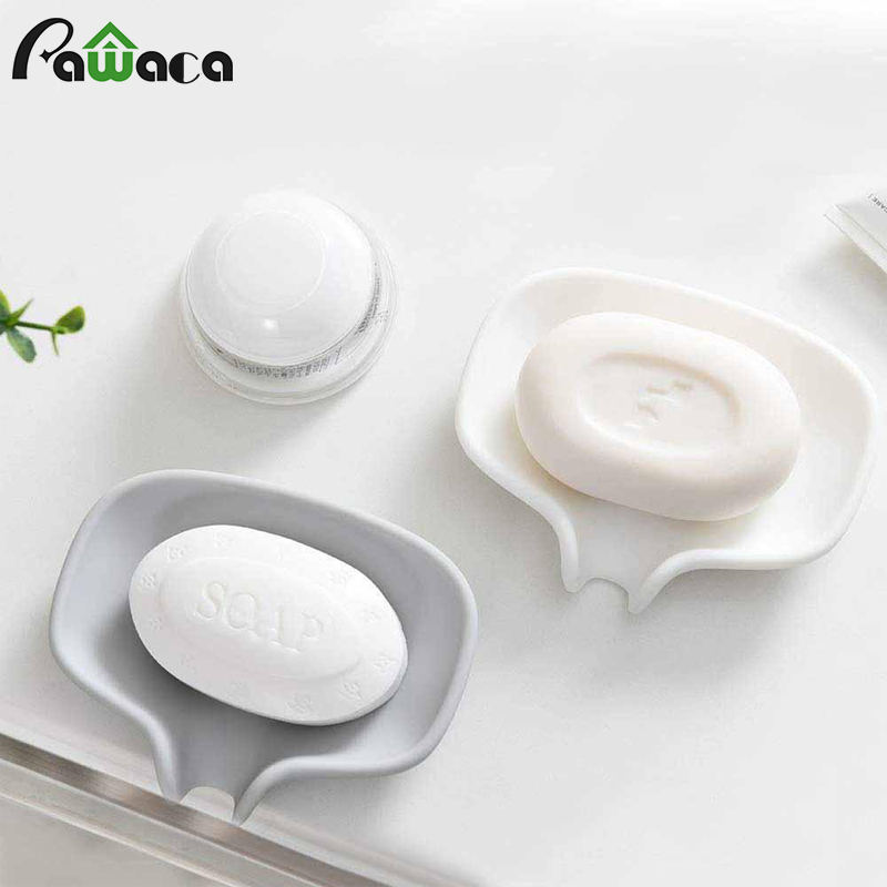 Silicone Soap Dish With Draining Tray, Bar Soap Holder Container Saver For Shower/Bathroom, Self Draining Waterfall Soap Tray