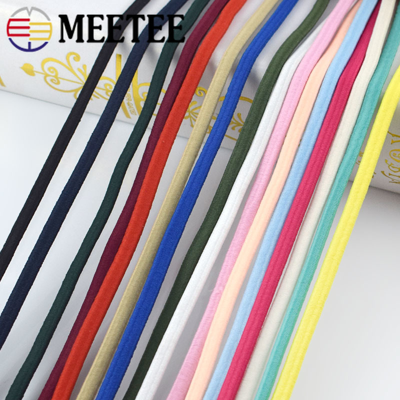 Meetee 5/10/20M 5mm Thickened Color Elastic Rope Rubber Band Thick Bands DIY Head Ropes Belt Sew Scrapbooking Accessories EB018