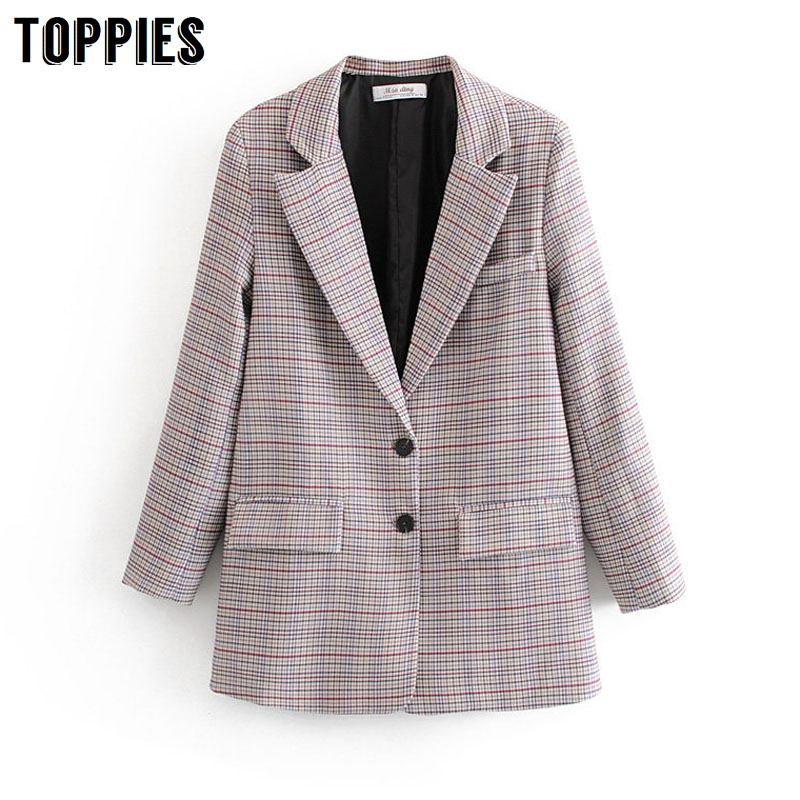 2020 Vintage Plaid Jacket Women Suits Ladies Single Breasted Blazer Notched Collar Long Blazer Feminino