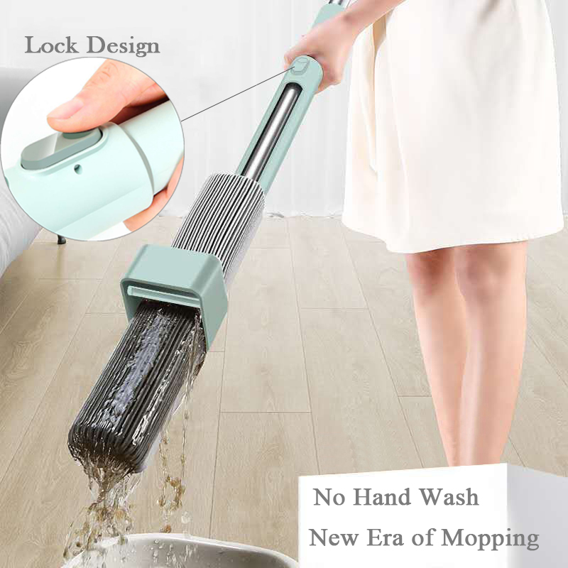 Hand Free Can Stand Mop for Wash Floor 180 Magic Squeeze Flat Mop 34cm Large Sponge Lazy Mop Household Cleaning Home Wooden TileMops   -
