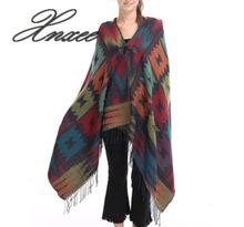2019 new autumn and winter hooded horn buckle color bohemian national style loose cloak shawl