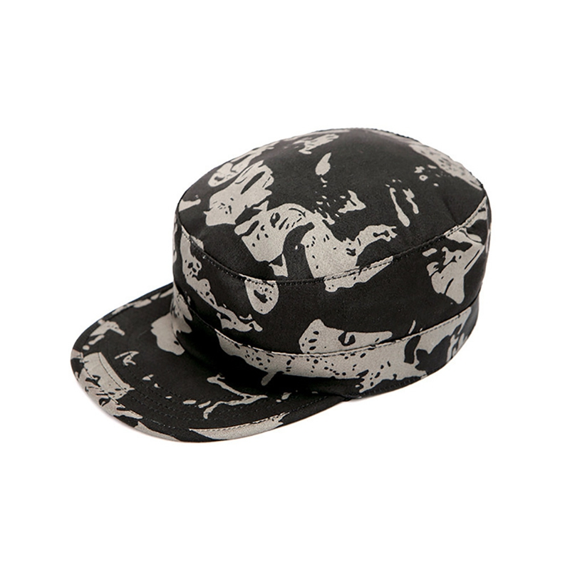 Peaked Cap Flat Top Printed Sunshade Camouflage Dust-proof Workout Hat Headwear Outdoor Sports Wear With Adjustable Back Closure