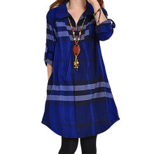 Casual Plaid Shirt Dress Women Vintage Elegant Office Ladies Blue Mini Vestidos Pocket Spring 2020 Female Fashion Short Dress(China)