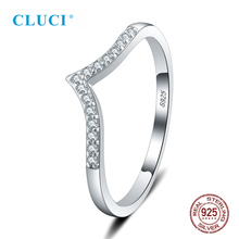 CLUCI Simple Style 925 Sterling Silver Wedding Ring For Women Mini Zirconia Fine Jewelry 6/7/8/9/10 Size Hot Sale