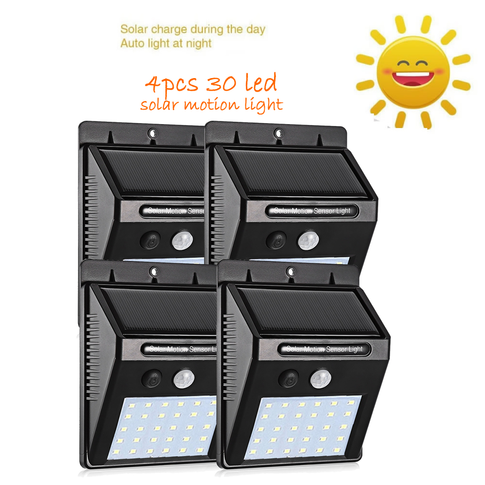 4 Pcs PIR Motion Sensor Solar Lights 30 LEDs Garden Security Waterproof Wireless Wall Lamp Street Wall Spot Floodlight Security