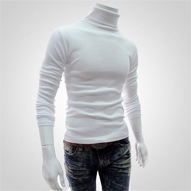Winter Men Slim Warm Cotton High Neck Pullover Jumper Sweater Top Turtleneck Men's Solid Color Turtleneck Sweater