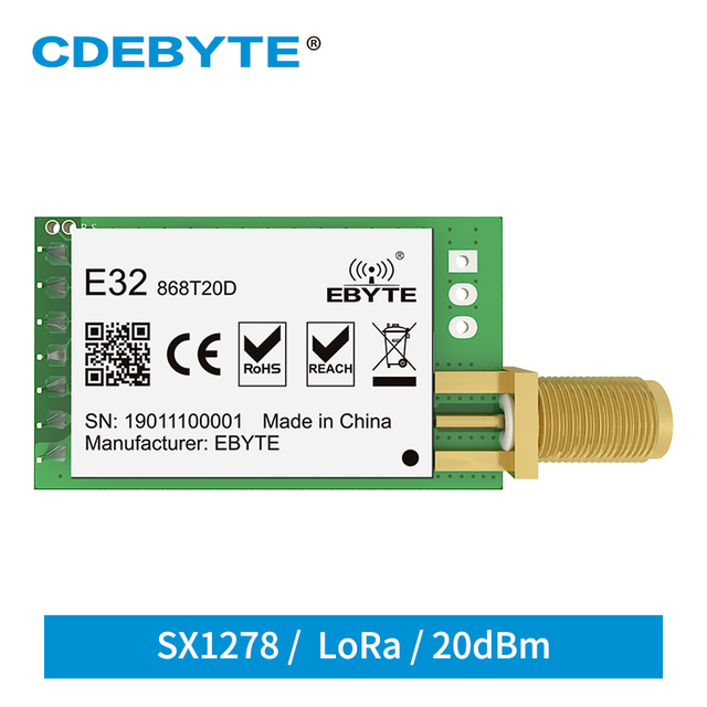 E32 868T20D Lora Long Range UART SX1276 868mhz 100mW SMA Antenna IoT uhf Wireless Transceiver Transmitter Receiver Module