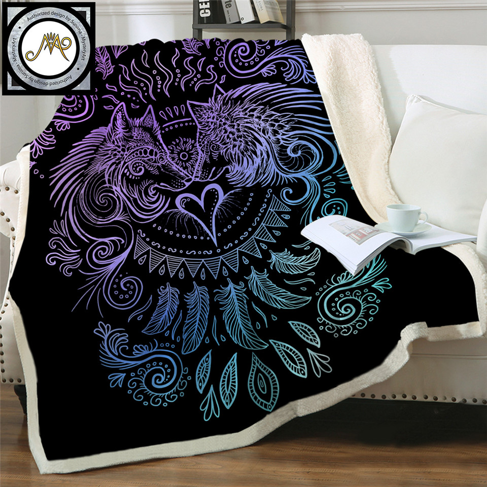 Pillowcase Blue and Purple Pillow Case Home Textile Wolves Heart by SunimaArt