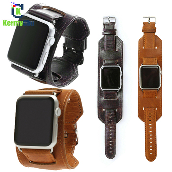 Cuff Leather Strap for Apple Watch 38mm 40mm 42mm 44mm for IWatch Series 5 4 3 2 1 Band Genuine Leather Retro Wristband Belt фото