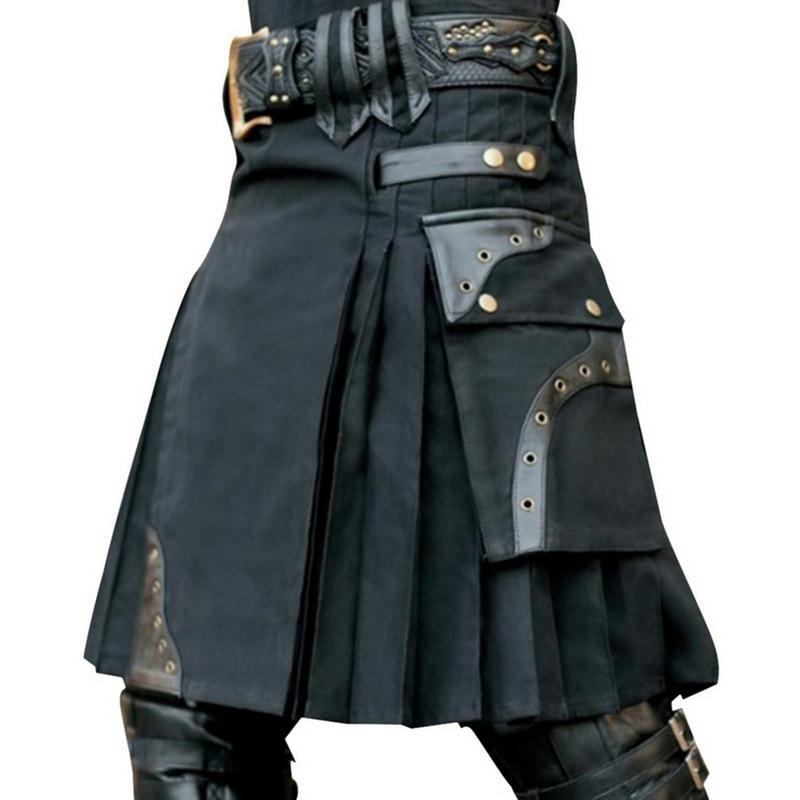 MJARTORIA Scottish Mens Kilt Traditional Skirt Metal Classic Retro Personality Belt Bilateral Gothic Punk Check Pattern Skirts