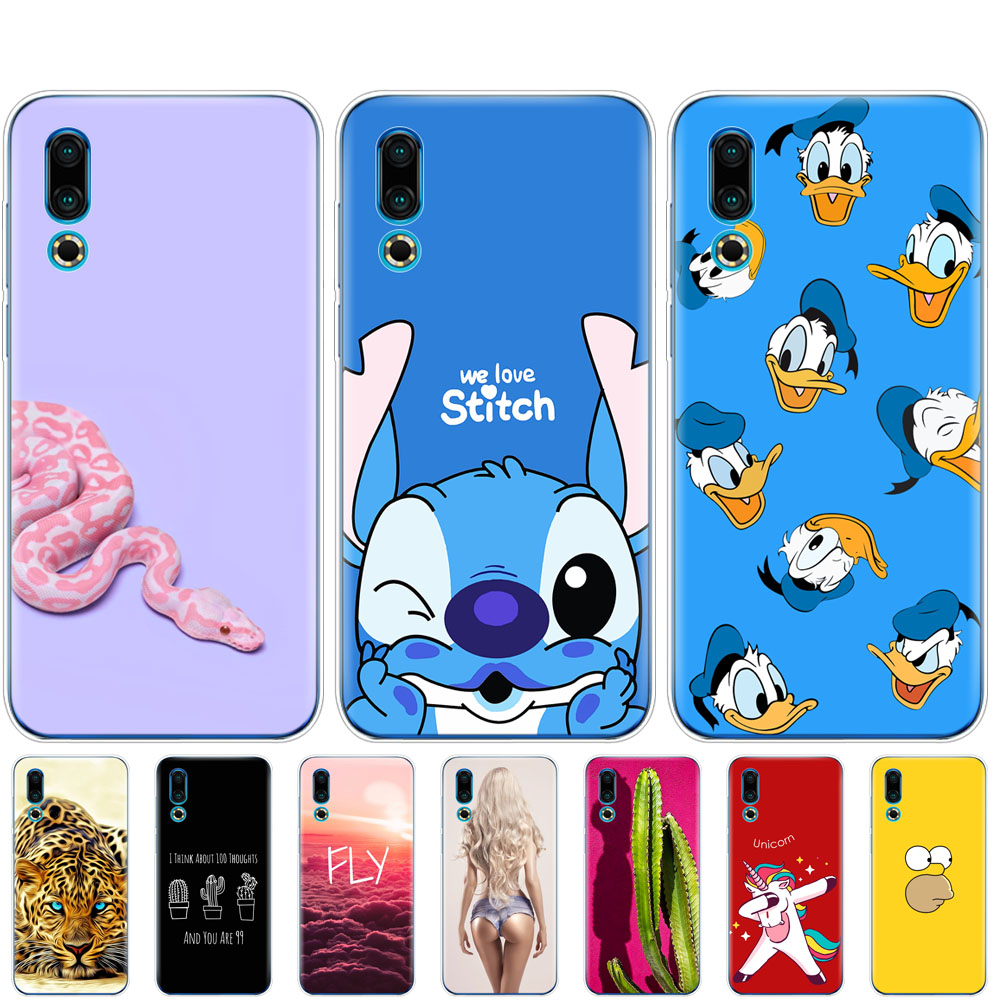 For <font><b>Meizu</b></font> 16S Case bumper 6.2'' Cartoon Painted Soft TPU Silicon Cover on For <font><b>Meizu</b></font> 16s <font><b>16</b></font> S Coque Funda Skin shockproof image